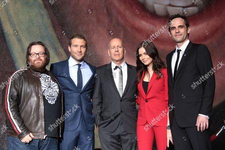 Stock Photo of John Moore, Jai Courtney, Bruce Willis, Yuliya Snigir and Rasha Bukvic