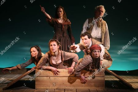 Stock Picture of 'Our Country's Good' - Kathryn O'Reilly as Liz Morden and Ian Redford as John Arscott (rear) and Laura Dos Santos as Mary Brenham, Helen Bradbury as Dabby Bryant, John Hollingworth as John Wisehammer and Lisa Kerr as Duckling Smith