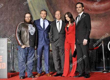 Bruce Willis with John Moore, Jai Courtney, Yuliya Snigir and Rasha Bukvic