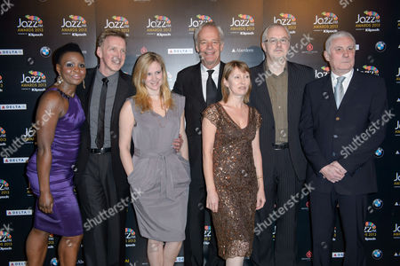 Stock Image of Rosemary Laryea, Nigel Williams, Claire Anderson, Richard Wheatly, Helen Mayhew, Mike Chadwick and Jeff Young, Jazz FM presenters at the Jazz FM Awards