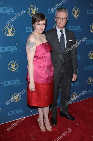 Stock Picture of Lena Dunham and father Carroll Dunham