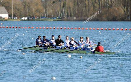 Gb Rowers (l-r) Alex Partridge Greg Searle Moe Sbihi Rick Egington Peter Reed Andy Triggs Hodge Matt Longridge And Alex Gregory Take To The Redgrave/pinsent Rowing Lake Near Caversham. The Event Marks Six Months Till The Start Of The Olympic Games Opening Ceremony.