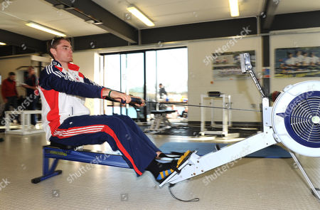 Gb Rower Cameron Nichol In The Gym At The Redgrave/pinsent Rowing Lake Near Caversham. The Event Marks Six Months Till The Start Of The Olympic Games Opening Ceremony..