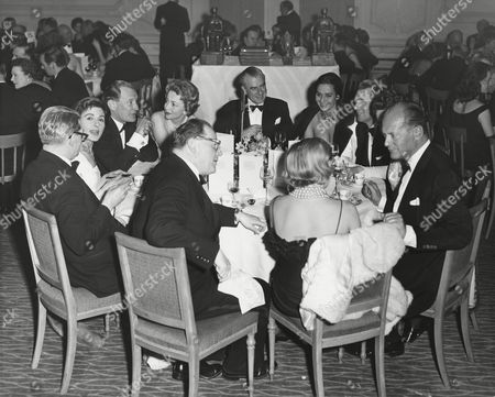 CHAIRMAN'S (JAMES LAWRIE) TABLE GUESTS including YVONNE MITCHELL, TREVOR HOWARD, OLIVIA DEHAVILLAND, MICHAEL REDGRAVE and CURT JURGENS at the Awards Ceremony in 1959