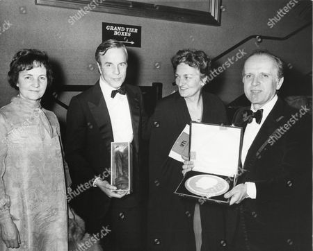 FRANCO ZEFFIRELLI with NINA ROTA winner of the 1972 ANTHONY ASQUITH Award (FILM MUSIC) for the GODFATHER (1972) and GUESTS at the Awards Cermeony in 1973