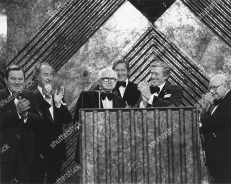 (from left to right) TERRY SCOTT, FRANK THORNTON, DAVID CROFT winner of the 1981 DESMOND DAVIS Award, JEREMY LLOYD, JIMMY PERRY and ARTHUR LOWE (citation reader) at the Awards Ceremony in 1982