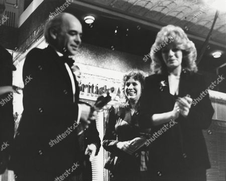 ALAN PLATER & SALLY HIBBIN (with ANNE SKINNER and MICK JACKSON) winners of the 1988 DRAMA SERIES/SERIAL Award for A VERY BRITISH COUP (1988) presented by RULA LENSKA (citation reader) at the Awards Ceremony in 1989
