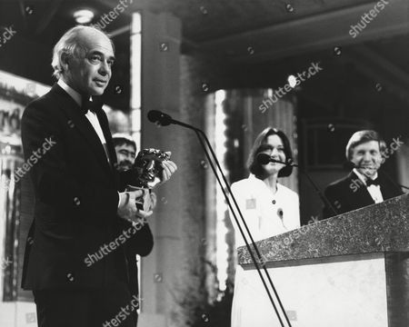 ALAN PLATER winner of the 1988 WRITERS Award presented by ALAN BLEASDALE (citation reader) with ANNA FORD and DAVID DIMBLEBY (PRESENTERS) at the Awards Ceremony in 1989