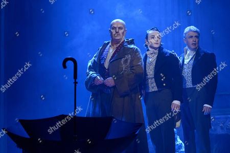 Chris Ellison (left) Taylor Jay-Davies at young Pip (centre) and Paul Nivison as adult Pip (right)