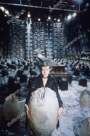 H. R. GIGER ON SET OF THE FILM 'ALIEN'