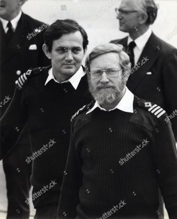 Stock Picture of Captain Philip Roberts Of The Hms Sir Galahad (left) And Captain Robin Green Of The Hms St Tristan Arrive Home From The Falklands At Brize Norton. Captain Robin Green Who Has Died Aged 74 Commanded The Landing Ship Sir Tristram During The Falklands War Braving Extreme Danger By Entering Shallow Waters Where Naval Escorts Could Not Offer Protection Until Disaster Struck His Ship And Sir Galahad At Fitzroy In The Single Bloodiest Incident Of The Conflict. Robin Green Who Died On October 5 Married Elizabeth Traynor In 1967. She Survives Him With Their Three Children.