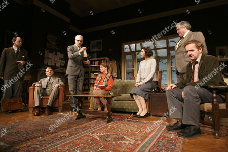 'Quartermaine's Terms' - Will Keen (Derek Meadle), Rowan Atkinson (St. John Quartermaine), Malcolm Sinclair (Eddie Loomis), Felicity Montagu (Melanie Garth), Louise Ford (Anita Manchip), Conleth Hill (Henry Windscape) and Matthew Cottle (Mark Sackling)