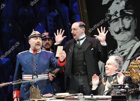 'The Captain of Kopenick' - Antony Sher as Wilhelm Voigt, Nick Malinowski as Obermuller's Secretary, Anthony O'Donnell as Mayor Obermuller