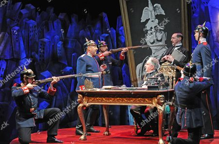 'The Captain of Kopenick' - Antony Sher as Wilhelm Voigt, Anthony O'Donnell as Mayor Obermuller, Nick Malinowski as Obermuller's Secretary,