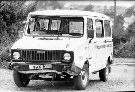 The Norland Nursery Training College Van Which Was Shot At By Michael Ryan. The Hungerford Massacre On 19 August 1987. The Gunman 27-year-old Michael Robert Ryan Armed With Two Semi-automatic Rifles And A Handgun Shot And Killed Sixteen People Including His Mother And Wounded Fifteen Others Then Fatally Shot Himself. Taken From Book 'true Crime' Classic Rare And Unseen. Published By Trans Atlantic Press 2009.