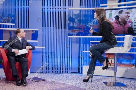 Silvio Berlusconi with anchorwoman Tiziana Panella