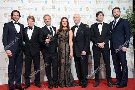 Stock Picture of Bradley Cooper, Robert Wade, director Sam Mednes, Barbara Broccoli, Michael G Wilson, Neal Purvis and Ben Affleck