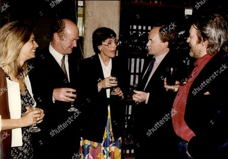 Poet Davina Prince Winning The 1992 Literary Review Grand Poetry Prize Sponsored By The Mail On Sunday At London's Cafe Royal L-r Unknown Woman Auberon Waugh Davina Prince Clive Anderson And Willie Rushton.