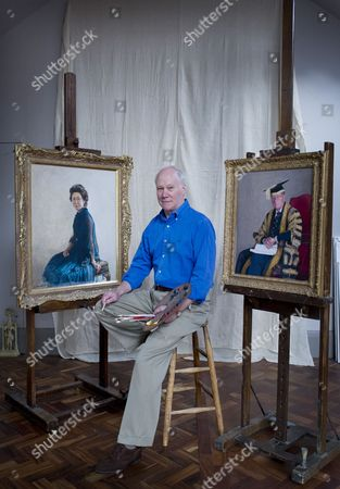 Richard Stone with royal portraits