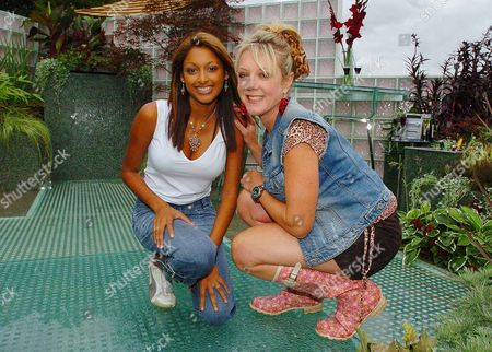 Hollyoaks' Actresses Sarah Lawrence (left) And Helen Pearson Pictured In The Mersey Television Garden At The Royal Horticutural Society (rhs) Flower Show At Tatton Park In Knutsford Cheshire; Lawrence Plays Darlene And Pearson Plays Frankie In The Mersey Television Soap Shown On Channel Four.