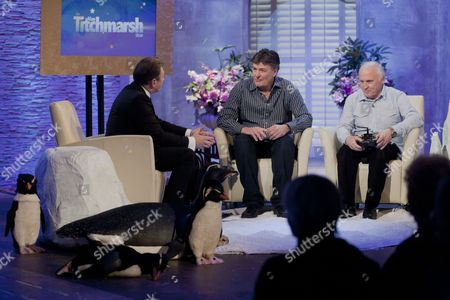 Alan Titchmarsh with John Downer with Geoff Bell and fake penguins cameras