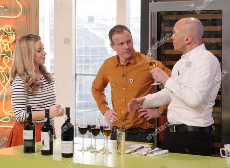 Drinks expert Rebecca Seal with Tim Lovejoy and Simon Rimmer
