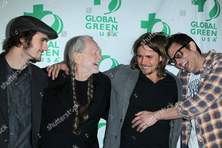 Stock Picture of Jacob Micah Nelson, Willie Nelson, Lukas Nelson, Johnny Knoxville