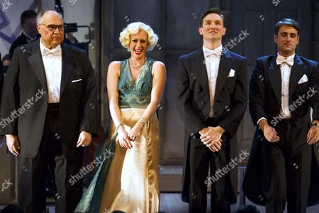 Mike McShane (Louis B Mayer), Faye Tozer (Marion Davies), Dylan Turner (William Haines) and Bradley Clarkson (Jimmy Shields)