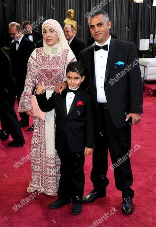 Emad Burnat, wife Soraya Burnat and son Gibreel