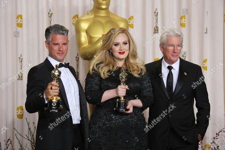 Stock Photo of Adele, Paul Epworth and Richard Gere