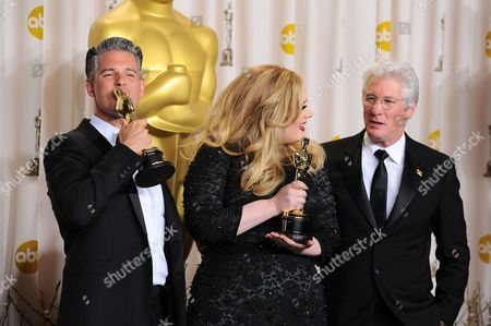 Stock Picture of Adele, Paul Epworth and Richard Gere