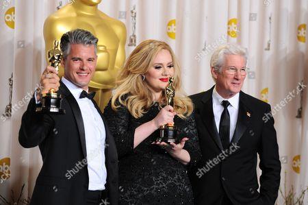 Stock Image of Adele, Paul Epworth and Richard Gere
