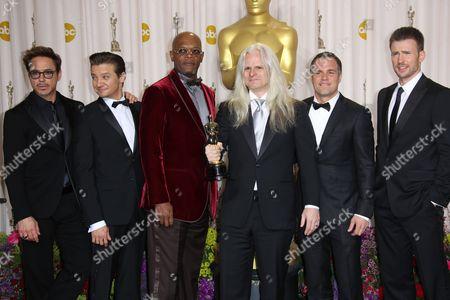 Stock Picture of Robert Downey Jr., Jeremy Renner, Samuel L Jackson, Claudio Miranda, Mark Ruffalo and Chris Evans