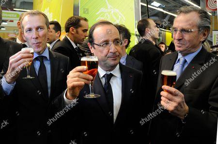 Guillaume Garot, Francois Hollande and Philippe Vasseur