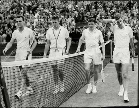 The Men's Doubles Match At Wimbledon Between Becker And Pickard Against Vic Seixas And Tony Trabert.