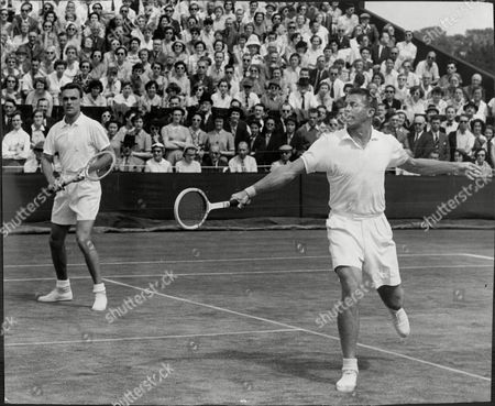 Vic Seixas And Tony Trabert V Pickard And Wilson In A Men's Doubles Tennis Match At Wimbledon.