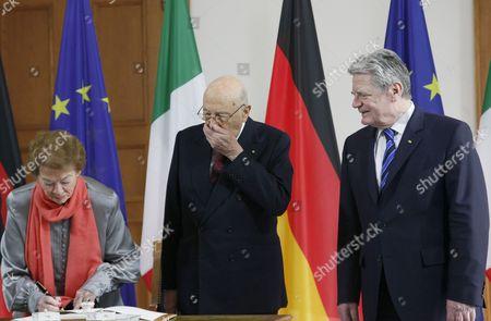 Clio Bittoni, Italian President Giorgio Napolitano and President of Germany Joachim Gauck