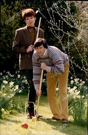 Stock Photo of Alan Titchmarch And Carole Boyd Playing Croquet.