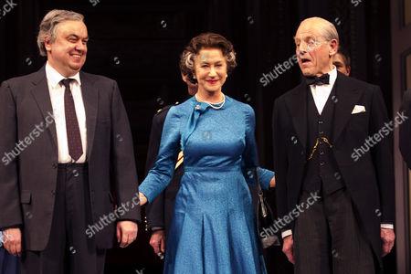 Richard McCabe (Harold Wilson), Helen Mirren (The Queen) and Edward Fox (Winston Churchill)