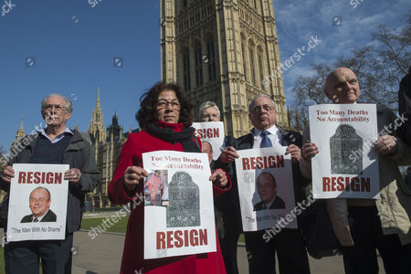 Relatives of people who have died in the NHS, demanding the resignation of Sir David Nicholson