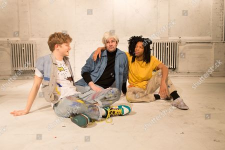 Stock Image of Michael Palmer (Rene Ricard), Adam Riches (Andy Warhol) and Michael Walters (Jean-Michel Basquiat).
