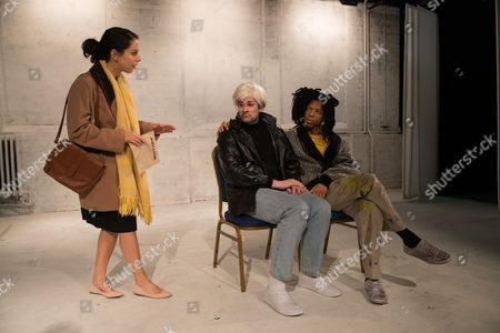 Stock Photo of Lisa Carrucio Came (Mary Boone), Adam Riches (Andy Warhol) and Michael Walters (Jean-Michel Basquiat).