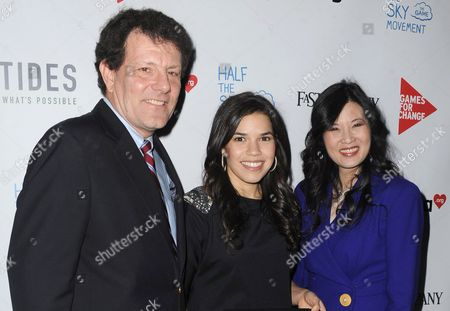 Nicholas Kristof, America Ferrera and Sheryl WuDunn