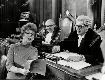Actress Thora Hird In Bbc V Film 'first Lady' Seen In Council Chambers With Her Husband James Scott In Role As Town Clerk And In Rear Is Billy Russell As The Mayor.