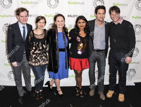 Matt Warburton, Zoe Jarman, Beth Grant, Mindy Kaling, Ed Weeks and Ike Barinholtz