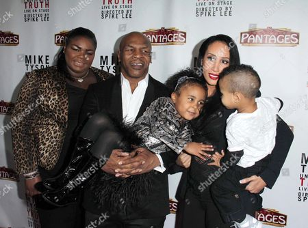 Mikey Lorna Tyson, Mike Tyson and Lakiha Kiki Spicer Tyson, with daughter Milan and son Morocco
