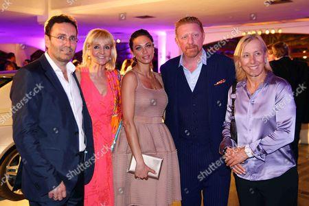 Erich Rembeck, Christa Kinshofer-Rembeck, Sharlely Lilly Kerssenberg and Boris Becker, Martina Navratilova