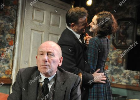 Stock Image of Christopher Timothy as Father James, Christopher Villiers as Michael and Tuppence Middleton as Rose