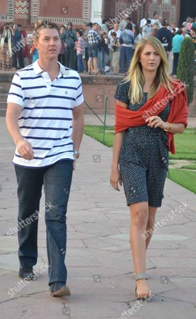 Stock Picture of Former Australian bowler Brett Lee and Miss Australia Universe Jesinta Campbell during shooting of his tourism-based show