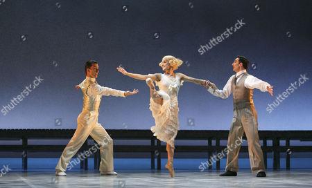 'The Great Gatsby' - l-r: Tobias Batley (Jay Gatsby), Martha Leebolt (Daisy Buchanan), Giuliano Contadini (Nick Carraway)